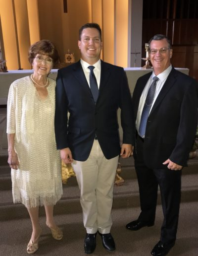 Mary Lou & Mark with son, Scott, right before the Christian ceremony